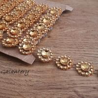 Kamienková stuha - kvietky ružové zlato - cena za 1,80 metra