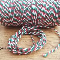 Dekoračný špagát - Zeleno červeno biely