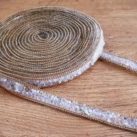 Hot fix nažehľovacia lemovka - 16 mm - Kamienková zlato biela - cena za 10 centimetrov