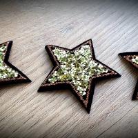 Hot fix nažehľovacia aplikácia - Hviezda - 40 mm - Zlatá
