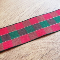 Károvaná stuha 40 mm - Červeno zelená