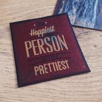 Nažehľovačka - The Happiest PERSON - 9 x 8 cm