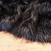 Kožušina umelá - čierna so strieborno-šedým melírom - cena za 10 cm
