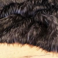 Kožušina umelá - čierna so strieborno-šedým melírom - TOP - cena za 10 cm