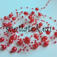 Perličková girlanda červená
