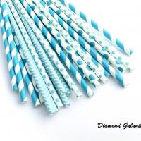 Ozdobné slamky - Modré - náhodný mix 6 kusov