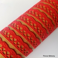 Bavlnená krajka - červená - 13 mm