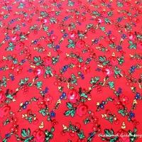 Krojova látka - kvietky malé na červenom podklade - cena za 10 cm
