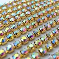 Štrasová borta Multicolor na zlatom 2,2 mm - cena za 10 cm