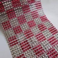 Kamienková stuha - ružovostrieborné káro - cena za 10 cm