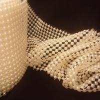 Ozdobná perličková stuha 96 mm krémová - cena za 10 cm