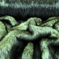Kožušina umelá - olivovo zelená - čierny melír - cena za 10 cm