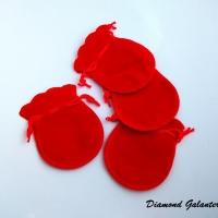 Dekoračná taštička - červená - 90 x 73 mm