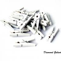 Ozdobné drevené štipčeky 20 kusov - biele