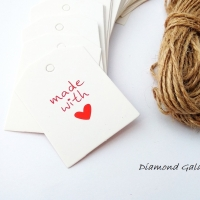 Ozdobná kartička Handmade with Love obdĺžnik - biela