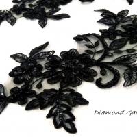 Nášivka čierna - 40 x 15 cm - jeden pár