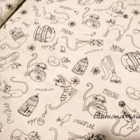 Bavlnená látka - Mačky - cena za 10 cm