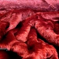 Kožušina poťahová - Vínovo červená - cena za 10 centimetrov