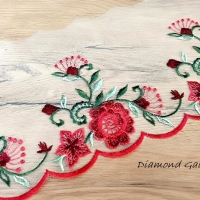 Čipka 118 mm - Kvety červené - cena za 10 centimetrov
