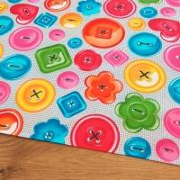 Bavlnená látka - Farebné gombíky - cena za 10 centimetrov