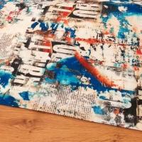 Bavlnená látka - Potlač Mix Modrá - cena za 10 centimetrov
