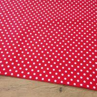 Bavlnená látka - Bodky biele na červenom 6 mm - cena za 10 centimetrov