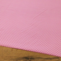 Bavlnená látka - Bodky biele na ružovom 4 mm - cena za 10 centimetrov