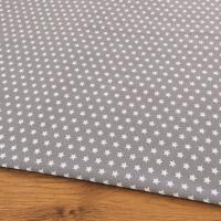 Bavlnená látka - Hviezdičky 10 mm na šedom - cena za 10 centimetrov