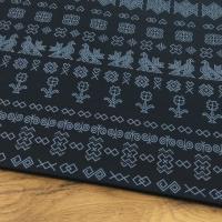 Bavlnená látka - Čičmany čierne so šedým - cena za 10 cm