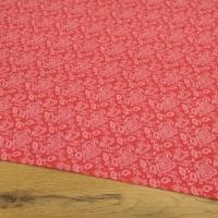 Bavlnená látka - Srdiečka ozdobné na červenom - cena za 10 centimetrov