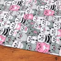 Bavlnená látka - Mačičky ružové - cena za 10 centimetrov
