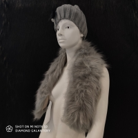 Kožušinový golier - 90 cm - Šedý