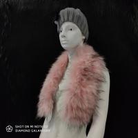 Kožušinový golier - 90 cm - Ružový s melírom