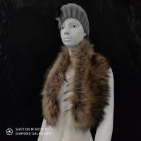 Kožušinový golier - 90 cm - Hnedý s melírom