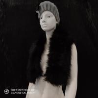 Kožušinový golier - 90 cm - Čierny
