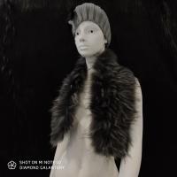 Kožušinový golier - 90 cm - Čierno šedý melírový