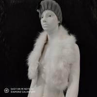 Kožušinový golier - 90 cm - Biely