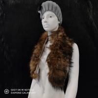 Kožušinový golier - 90 cm - Hnedo čierny melírový