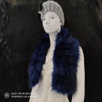 Kožušinový golier - 90 cm - Tmavomodrý melírový