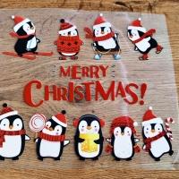 Nažehľovacia nálepka - Vianočný tučniaci - 25 x 21 cm