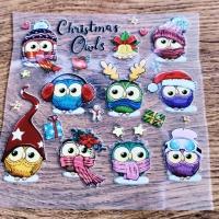 Nažehľovacia nálepka - Christmas Owls - 12 x 12 cm