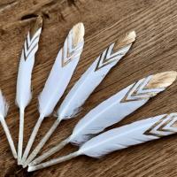 Dekoračné pierka - bielo zlaté