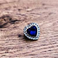 Brošňa srdiečko 17 mm - Kráľovská modrá