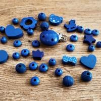 Kreatívny mix - klip + korálky - Kráľovská modrá