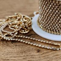 Štrasová borta zlato-strieborná 2 mm - cena za 10 cm