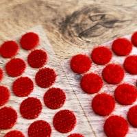 Suchý zips krúžok 10 mm - červený