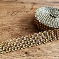 Kamienková stuha - Zlatá - šírka 2 cm - cena za 10 cm