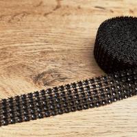 Kamienková stuha - Čierna - šírka 2 cm - cena za 10 cm