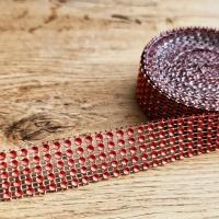 Kamienková stuha - Červená - šírka 2 cm - cena za 10 cm