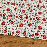 Bavlnená látka - Kvety červené - cena za 10 centimetrov